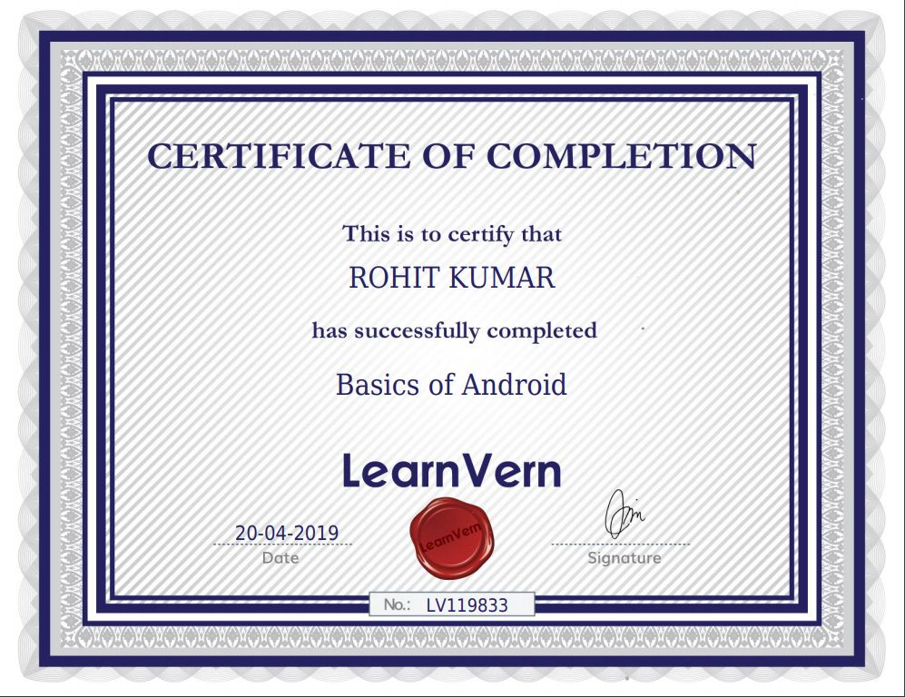 Learnvern Basic of android certificate