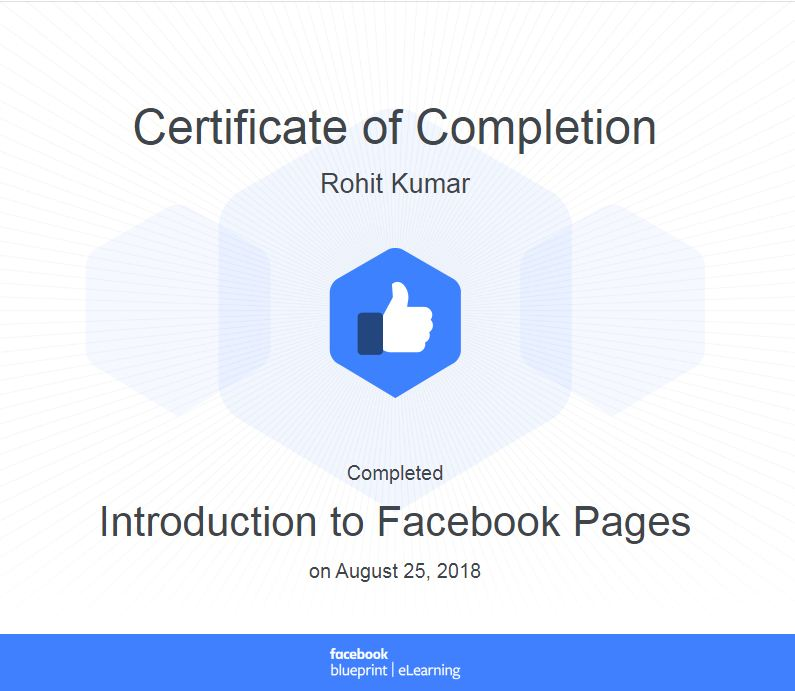 introduction to facebook pages certitifcate