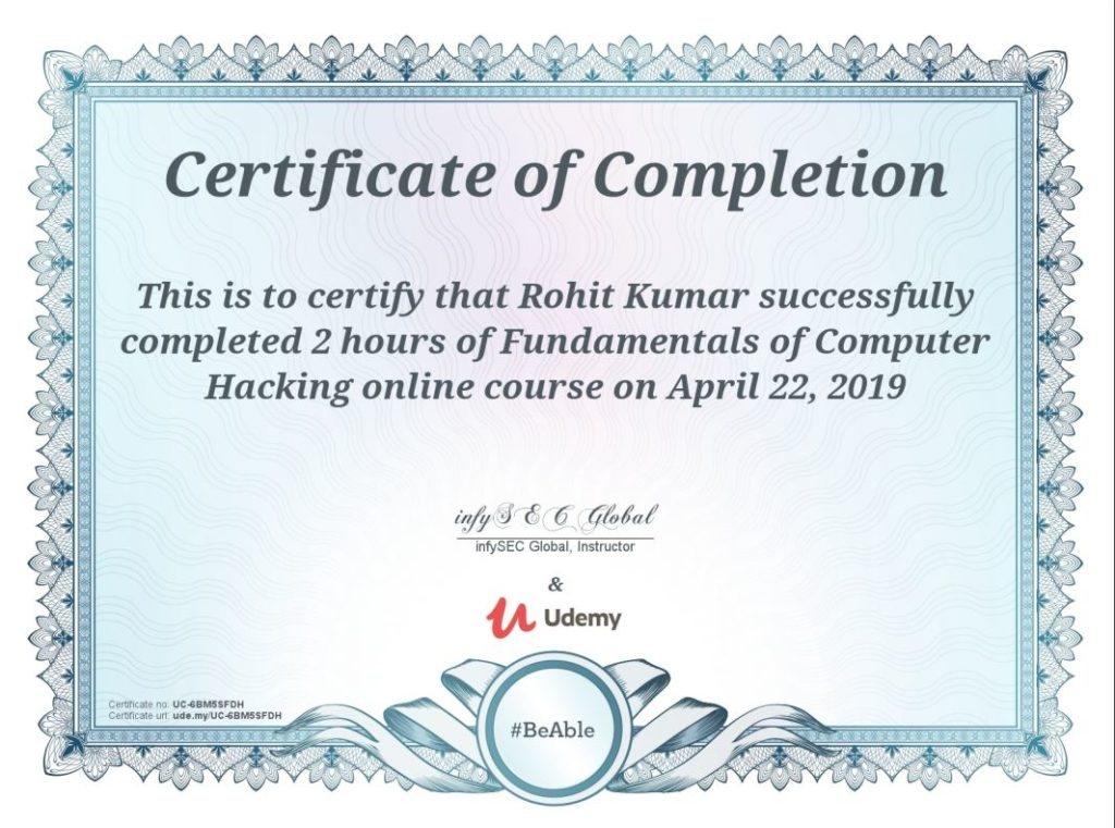 undemy certificate
