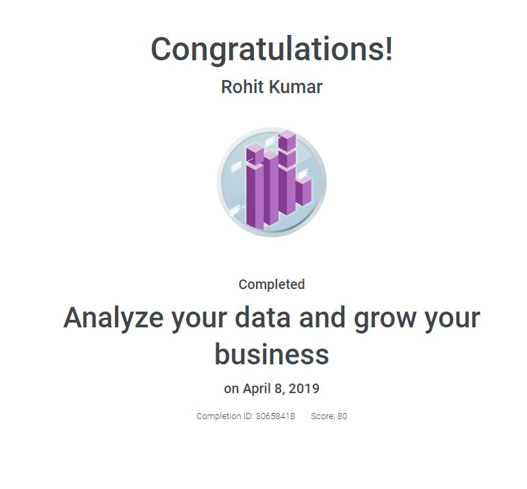 Analyze your data and grow your business certificate
