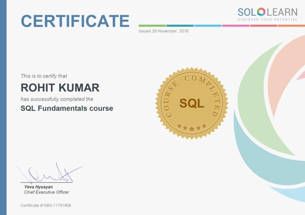 Solo learn html certificate