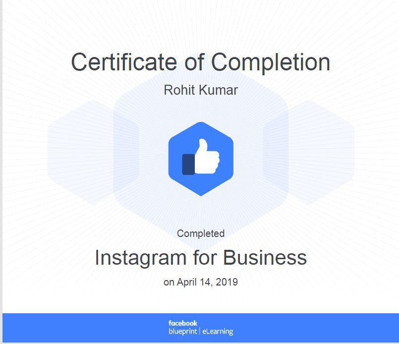 fb blueprint instagram for business certificate