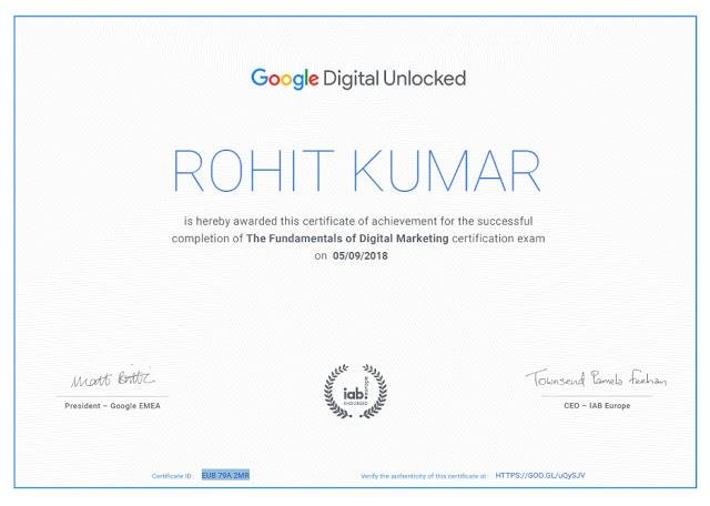 google digital unlocked certificate by rohit kumar