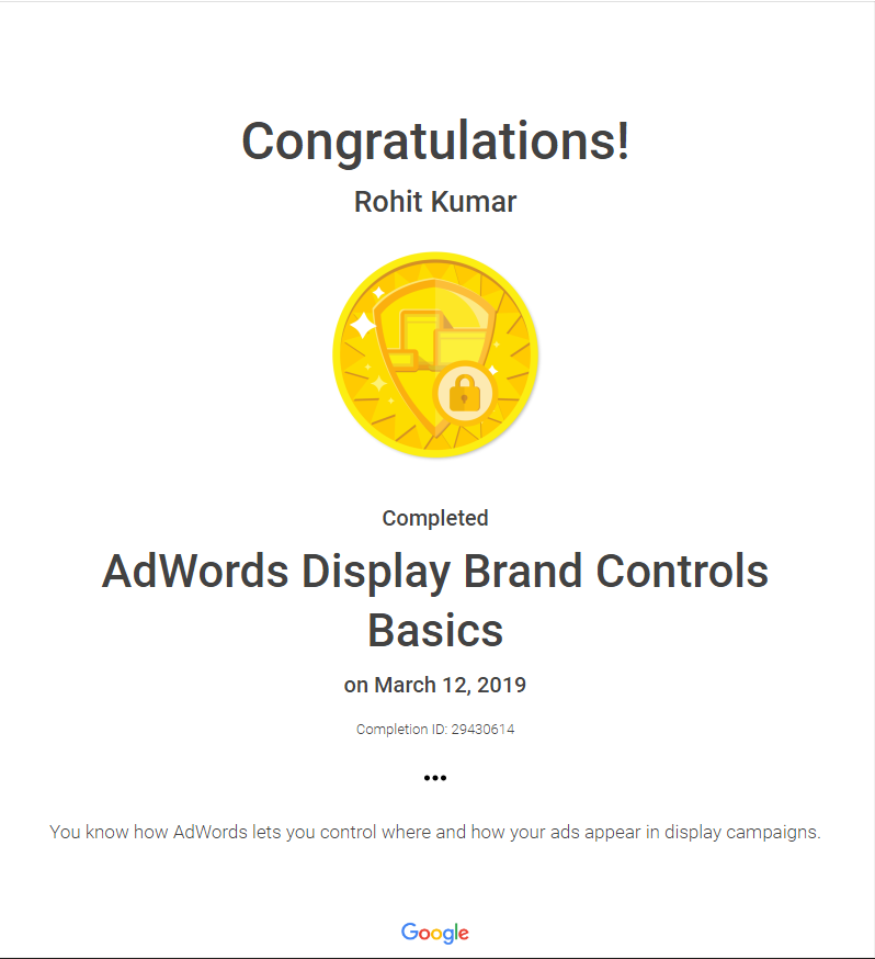 Adwords display brands controls basics certificate