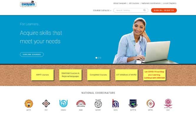 swayam portal home page
